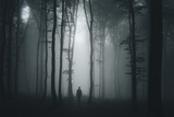 Spooky Halloween Scene with Man in Dark Forest Photographic Print by  andreiuc88