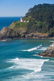 Heceta Lighthouse with Sea Photographic Print by Jamie Hooper