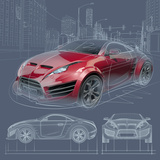 Sports Car Sketch. Original Car Design. Posters by  -Misha