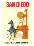 San Diego, California - Zebra - San Diego Zoo - Balboa Park - United Air Lines Prints