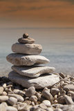 Stack of Stones, Zen Concept, on Sandy Beach Photographic Print by  perfectmatch