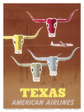 Texas - Longhorns - American Airlines Affiches par Joseph Charles Parker