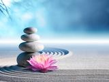 Sand, Lily and Spa Stones in Zen Garden Fotografie-Druck von Romolo Tavani