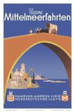 Unsere Mittelmeerfahrten (Our Mediterranean Cruises) - (Hamburg-American Line) Poster tekijänä Albert F?ss