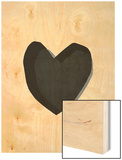 Black Heart Wood Print by Seventy Tree