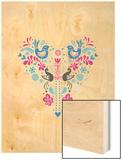 Folk Heart Wood Print by Moha London