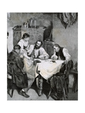 Society, Working Family Playing Cards at Home. L. Rulf, 1887 Giclee Print