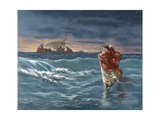 Jesus Walks on the Water of the Sea of Galilee Giclee Print