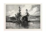 Trout Fishing on Lake Comandeau, Canada, Nineteenth Century Giclée-Druck
