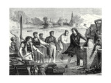 The Boatmen of the Weser Chop Papin's Steamboat in Pieces Giclee Print