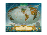 Manuscript Map of the World - Pan American World Airways, C.1942 - Giclee Baskı