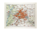 Map of Berlin and the Surrounding Area Germany 1899 Giclee Print