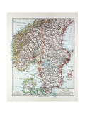 Map of the Southern Part of Norway and Sweden 1899 Giclee Print
