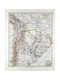 Map of Argentinia Chile Bolivia Uruguay and Paraguay 1899 Giclee Print