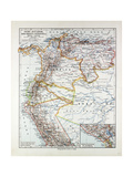 Map of Peru Ecuador Venezuela and Columbia 1899 Giclee Print