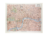 Map of the Centre of London Great Britain 1899 Stampa giclée