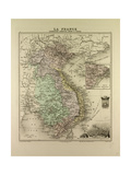 Map of Vietnam Cambodia Thailand Laos 1896 Giclee Print
