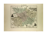 Map of Maine and Loire 1896, France Giclée-Druck