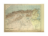 Map of Algeria and Tunisia Giclee Print