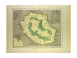 Map of La Réunion Giclee Print