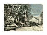 Caribou Hunt Canada 19th Century Wydruk giclee