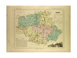 Map of Gers France Giclee Print
