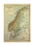 Map of Sweden Denmark and Norway Giclee Print