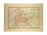 Map of Montpellier, France Giclee Print