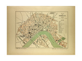 Map of Bordeaux France Giclee Print