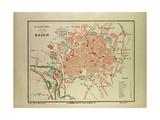 Map of Dijon France Giclee Print