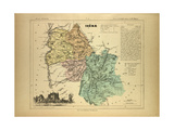 Map of Isère France Giclee Print