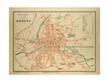 Map of Rennes France Giclee Print