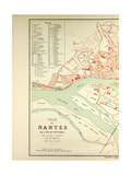 Map of Nantes - Giclee Baskı