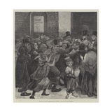 Relief of the Unemployed in London, Giving Out Soup-Tickets Giclee Print