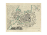 Map of Geneva, with an Illustrated 'View of the City', 1847 Giclee Print