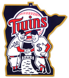 Minnesota Twins Minnie & Paul Lasercut Steel Logo Sign Wall Sign