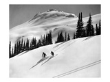 Skiing Beauty on Slopes Giclee Print by  Underwood