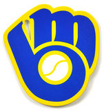 Milwaukee Brewers Vintage Glove Steel Magnet Magnet