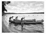 Canoers on Lake Giclee Print by  Underwood