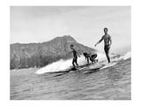 Girl with Surfboard Reproduction procédé giclée par  Underwood