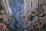 Store Signs in a City, Getreidegasse, Salzburg, Austria Giclee Print