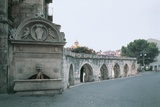 Drinking Fountain and an Old Aqueduct, Sulmona, Abruzzo, Italy Giclee Print
