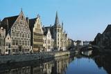 Buildings Along Graslei or Quai Aux Herbes, Lys River, Ghent, Belgium Giclee Print