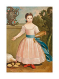 Girl Feeding Chickens, C.1811-20 Giclee Print