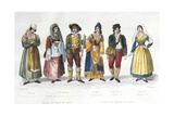 Calabrian Costumes, Italy, 18th Century Giclee Print