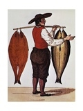 Seller of Smoked Salmon, Print, France, 19th Century Giclee Print