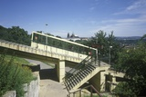 View of the Petín Funicular with Prague Castle, Czech Republic Photographic Print