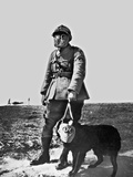 French Soldier and Dog Wearing Gas Masks on the Western Front, 1917 Photographic Print