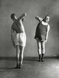 Two Men Doing their Gymnastic Exercises, 1936 Photographic Print