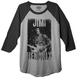 Long Sleeve: Jimi Hendrix- Rough Discharge (Raglan) T-Shirt